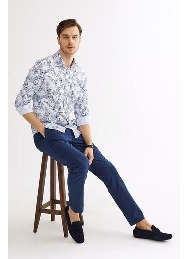 Avva Erkek  Çiçek Baskılı Düğmeli Yaka Gömlek A01Y2135 Mavi